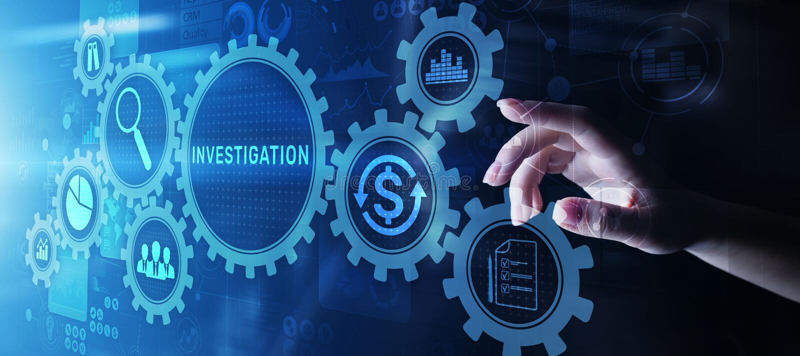 Conceito do negócio da auditoria da inspeção da investigação na tela virtual imagem de stock