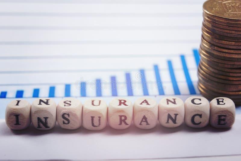 Conceito do negócio da gestão de riscos pelo seguro usando blocos da letra imagens de stock royalty free