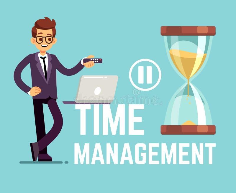 Conceito do negócio da gestão de tempo com homem de negócios e pulso de disparo dos desenhos animados Ilustração do vetor ilustração stock