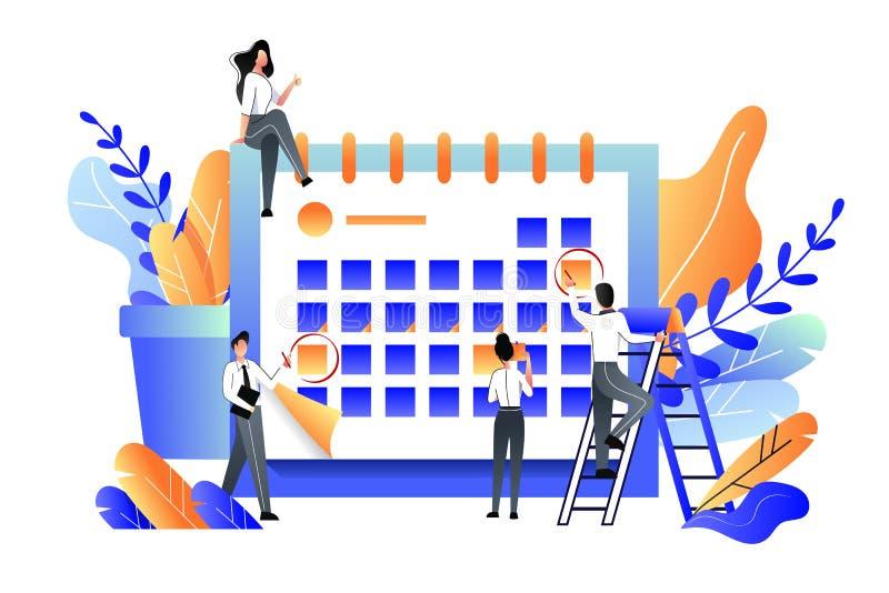 Conceito do negócio da gestão do planeamento, da gestão, do fim do prazo e de tempo Ilustra??o lisa do vetor ilustração royalty free