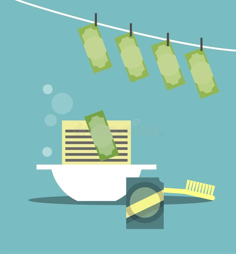 Conceito do negócio da lavagem de dinheiro ilustração do vetor