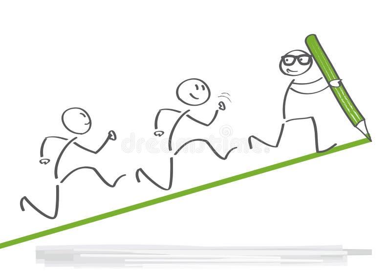 Conceito do negócio da liderança e dos trabalhos de equipa ilustração royalty free