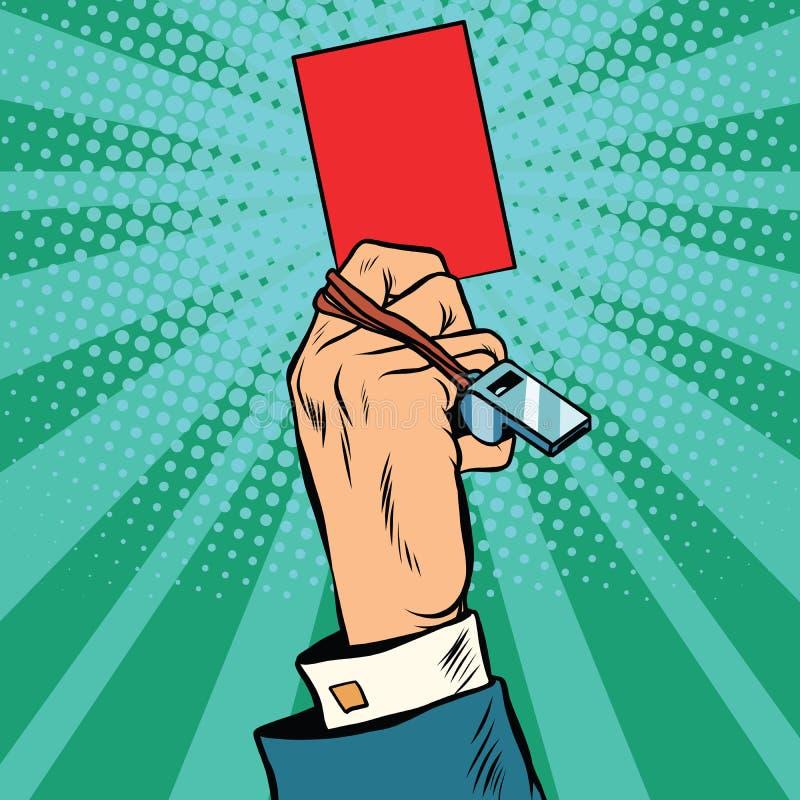 Conceito do negócio da mão do cartão vermelho ilustração royalty free