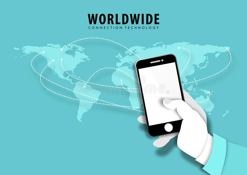 Conceito do negócio da mão do homem de negócios que usa o smartphone Vetor mundial da tecnologia da conexão ilustração do vetor