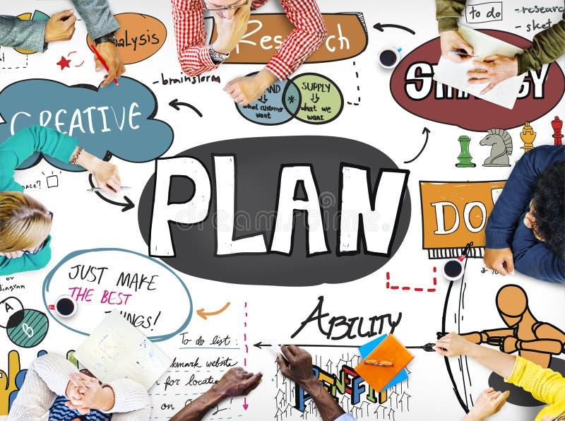 Conceito do negócio das ideias do planeamento do plano da pesquisa ilustração royalty free