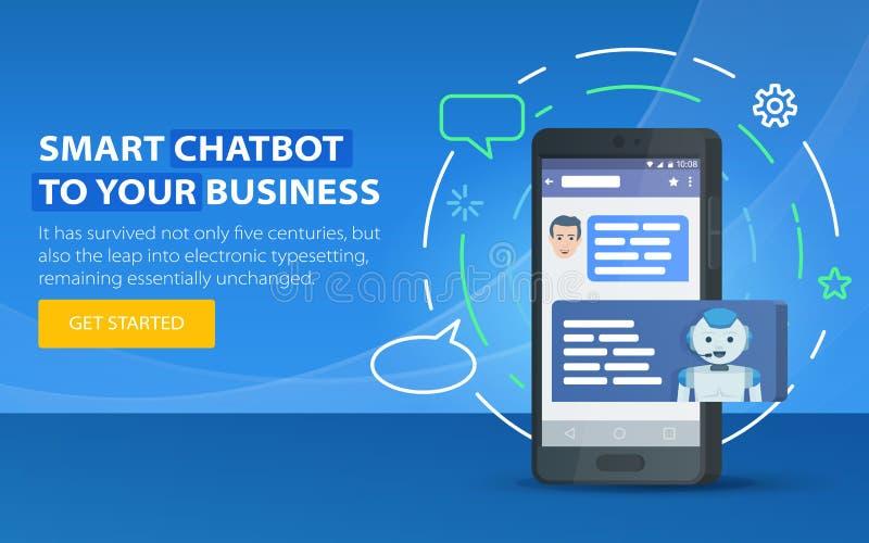 Conceito do negócio de Chatbot Bandeira moderna para o local Chatbot e conceito futuro do mercado Caixa de diálogo do telefone ce ilustração stock