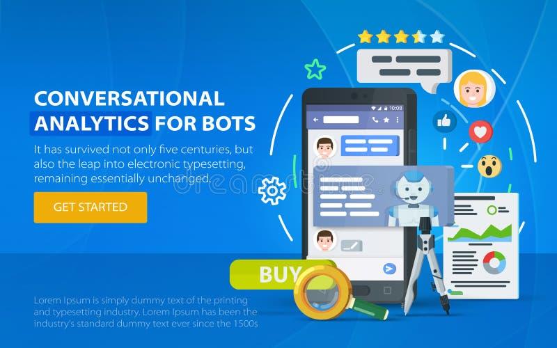 Conceito do negócio de Chatbot Indicador do mensageiro Chating e conceito da mensagem Chatbot e analítica futura do mercado Caixa ilustração royalty free