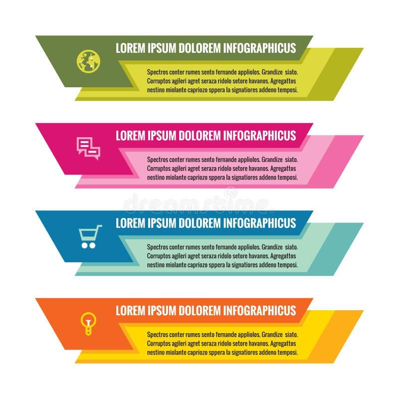 Conceito do negócio de Infographic - bandeiras horizontais coloridas do vetor Molde de Infographic Elementos do projeto de Infogr ilustração stock