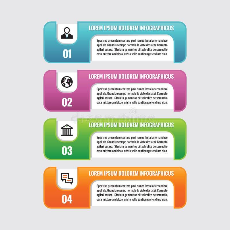 Conceito do negócio de Infographic - bandeiras horizontais coloridas do vetor Opções numeradas Molde de Infographic ilustração stock
