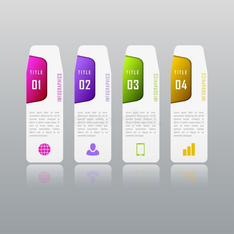 Conceito do negócio de Infographic com 4 opções, peças, etapas imagem de stock