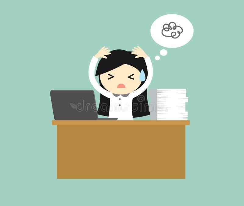 Conceito do negócio, de mulher de negócio trabalho forçado e duro do sentimento Ilustração do vetor ilustração stock