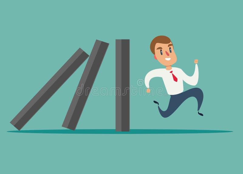 Conceito do negócio de uma corrida do homem de negócios longe do efeito de dominó ilustração do vetor