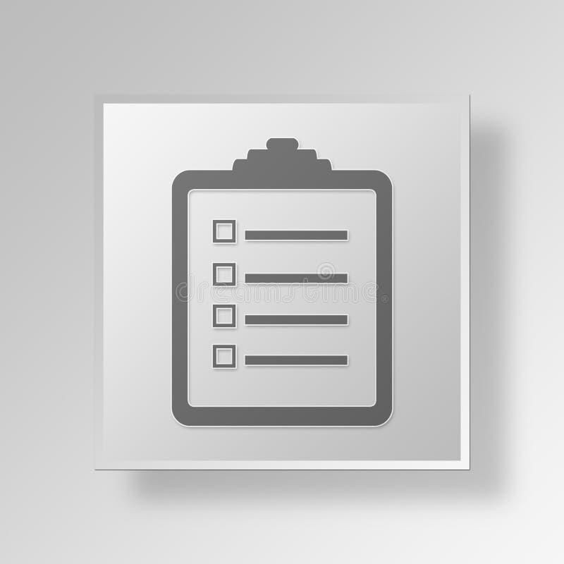 conceito do negócio do ícone da lista de verificação 3D ilustração do vetor