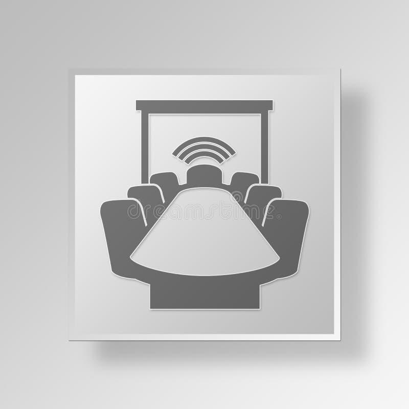 conceito do negócio do ícone da sala de conferências 3D ilustração do vetor