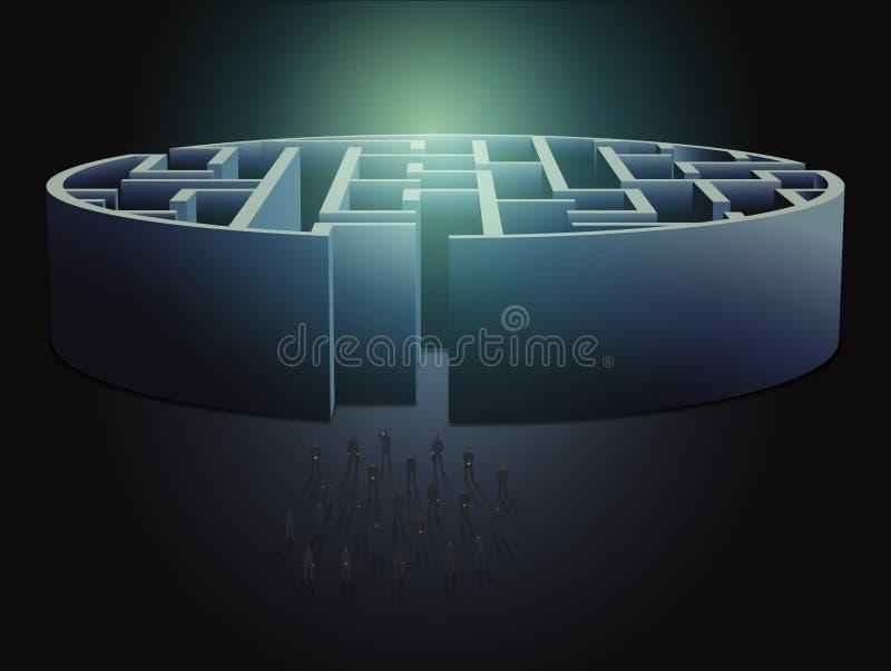 Conceito do negócio do labirinto ilustração royalty free