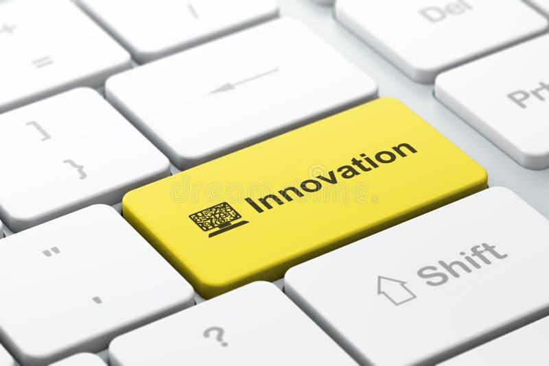 Conceito do negócio do negócio: PC e inovação do computador no fundo do teclado de computador imagem de stock