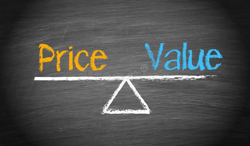 Conceito do negócio do preço e do valor fotografia de stock royalty free