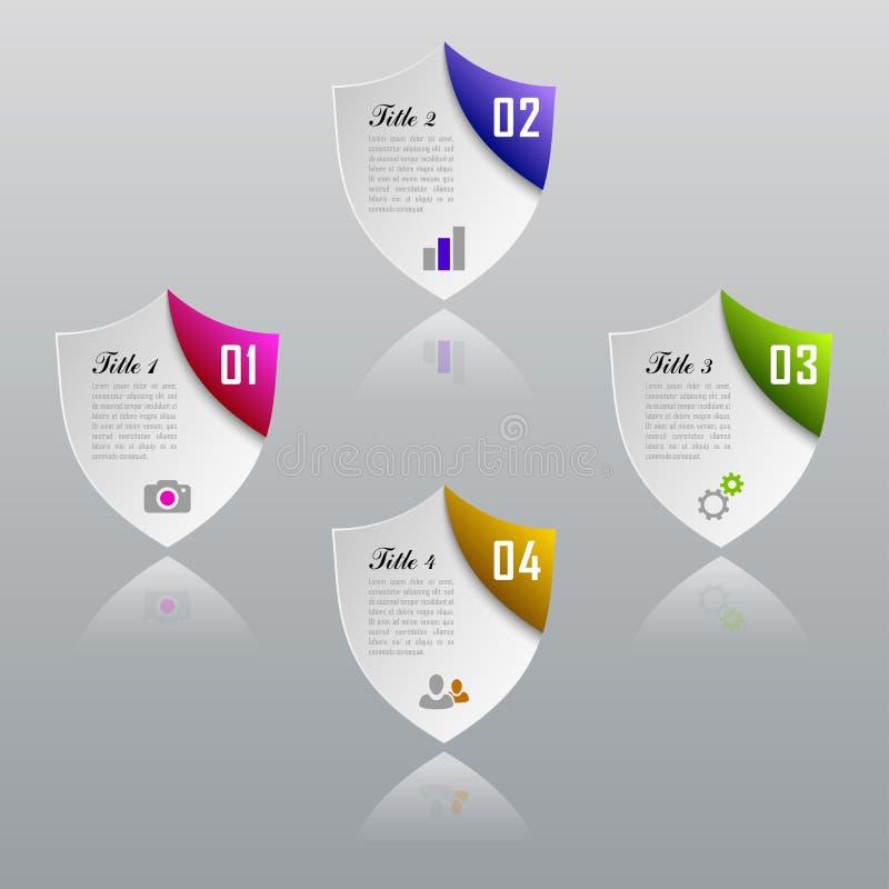 Conceito do negócio do protetor de Infographic com 4 opções, peças, etapas imagens de stock