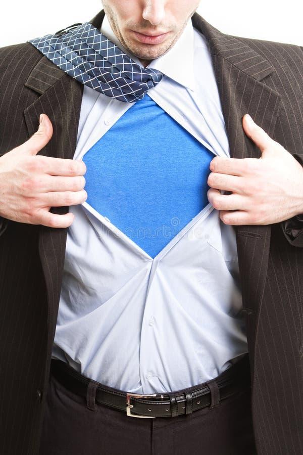 Conceito do negócio do superman - homem de negócios do herói super fotos de stock