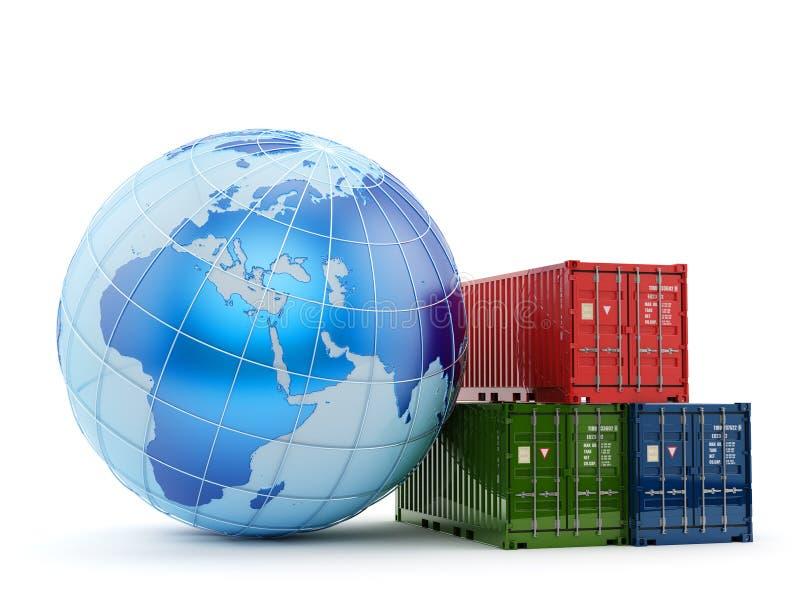 Conceito do negócio do transporte da logística, do transporte e do frete ilustração do vetor