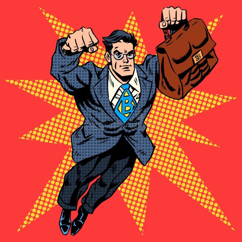 Conceito do negócio do voo do trabalho do super-herói do homem de negócios ilustração royalty free
