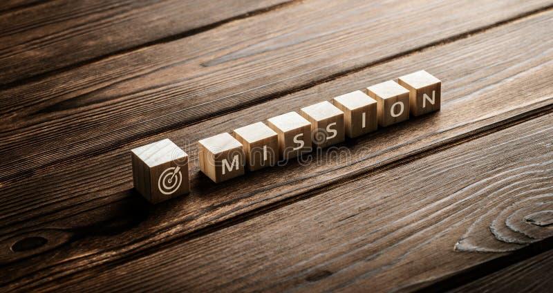 Conceito do negócio dos objetivos de Missão Visão Estratégia Empresa fotos de stock