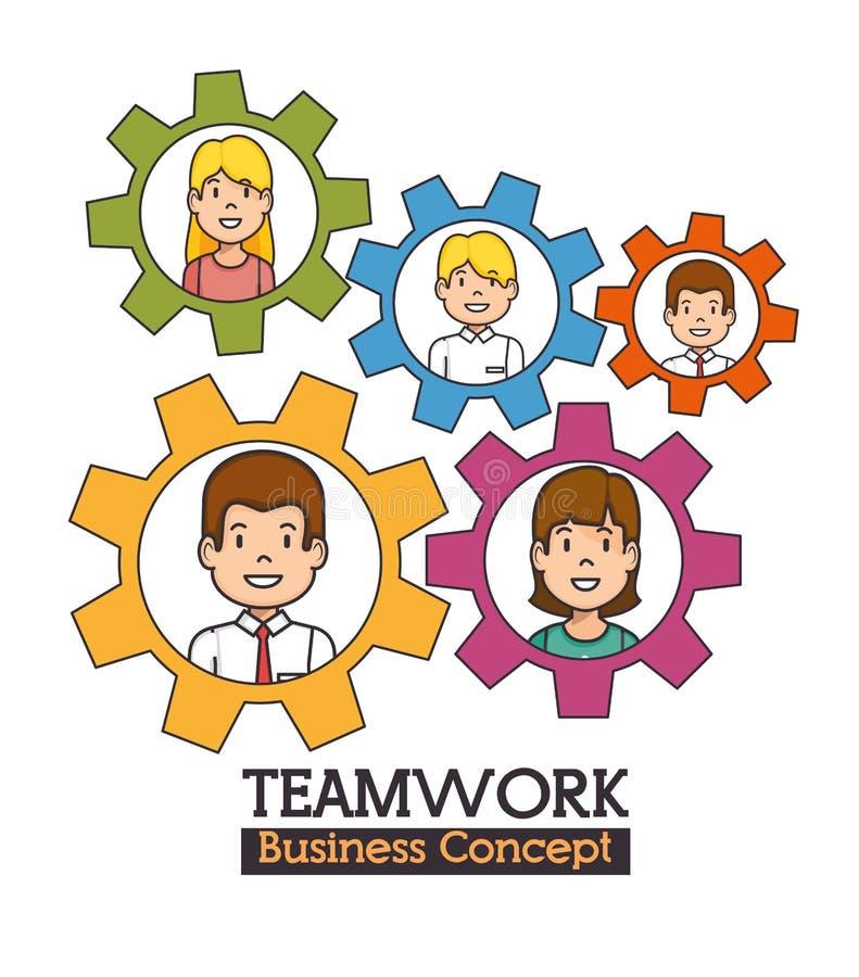 Conceito do negócio dos trabalhos de equipa ilustração royalty free