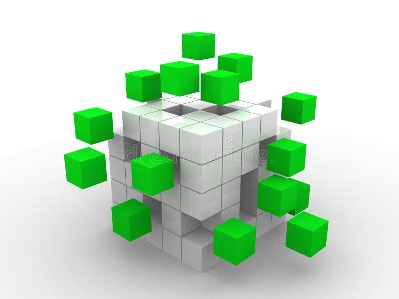 Conceito do negócio dos trabalhos de equipa com cubos verdes ilustração stock