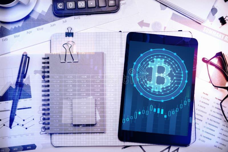 Conceito do negócio e do cryptocurrency imagens de stock