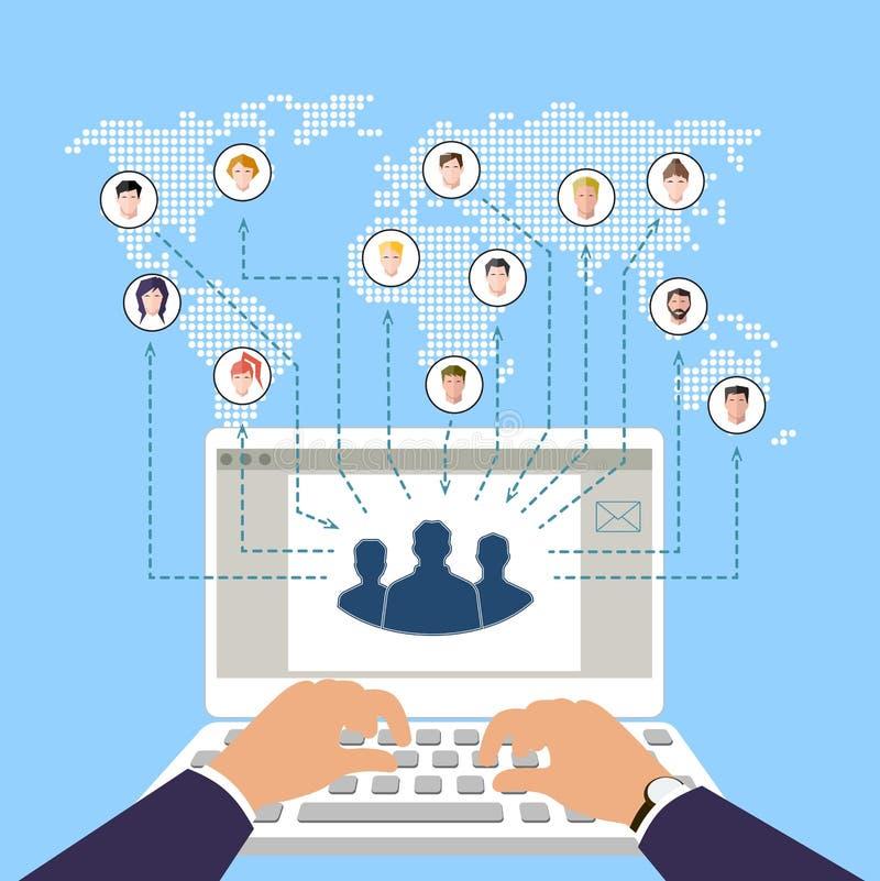 Conceito do negócio e de trabalhos de equipa modernos Redes sociais Comércio em linha ilustração stock