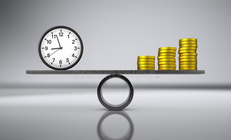 Conceito do negócio do equilíbrio do dinheiro do tempo ilustração stock