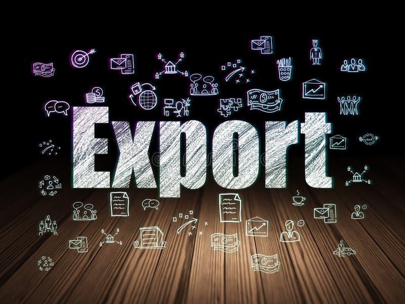 Conceito do negócio: Exportação na sala escura do grunge ilustração stock