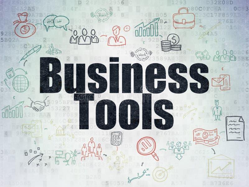Conceito do negócio: Ferramentas do negócio no papel de Digitas ilustração do vetor