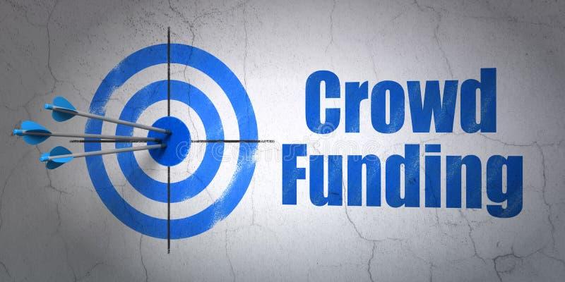 Conceito do negócio: financiamento do alvo e da multidão na parede ilustração stock