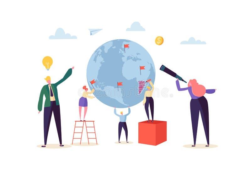 Conceito do negócio global com os caráteres que trabalham junto Povos que comunicam-se no processo do trabalho Cooperação dos tra ilustração royalty free