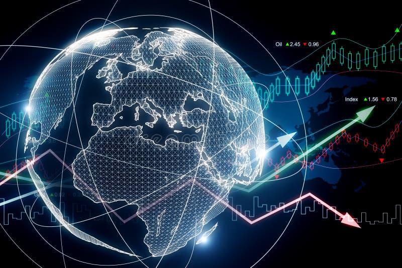 Conceito do negócio global e da economia ilustração stock