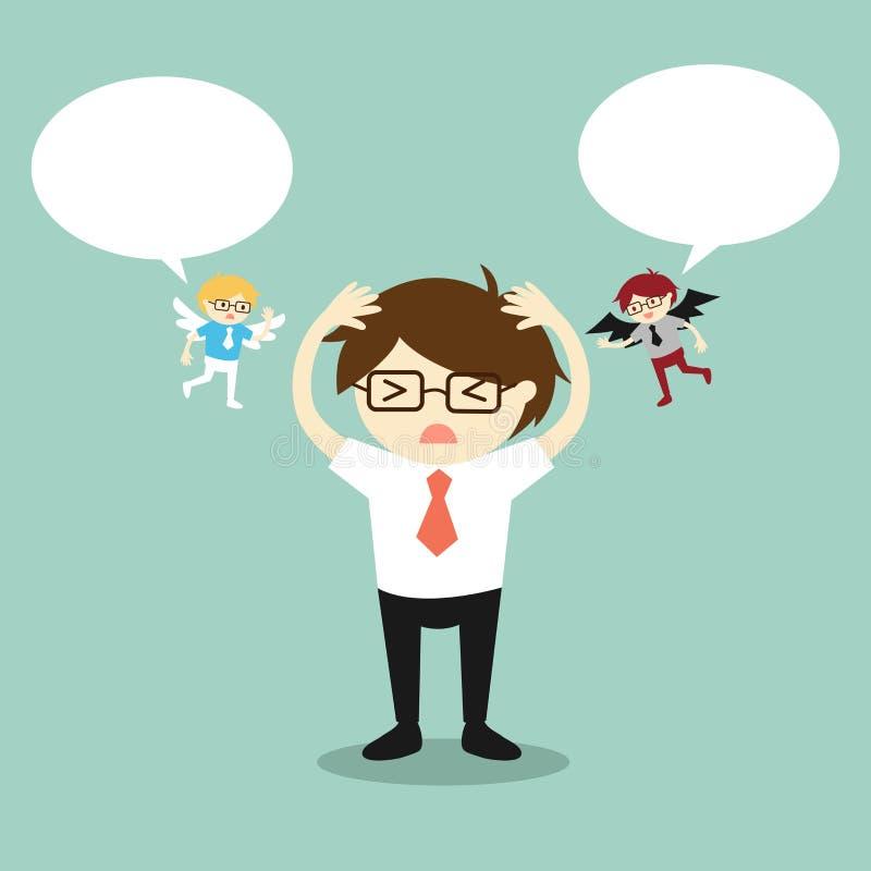 Conceito do negócio, homem de negócios com anjo e diabo e discurso da bolha ilustração stock