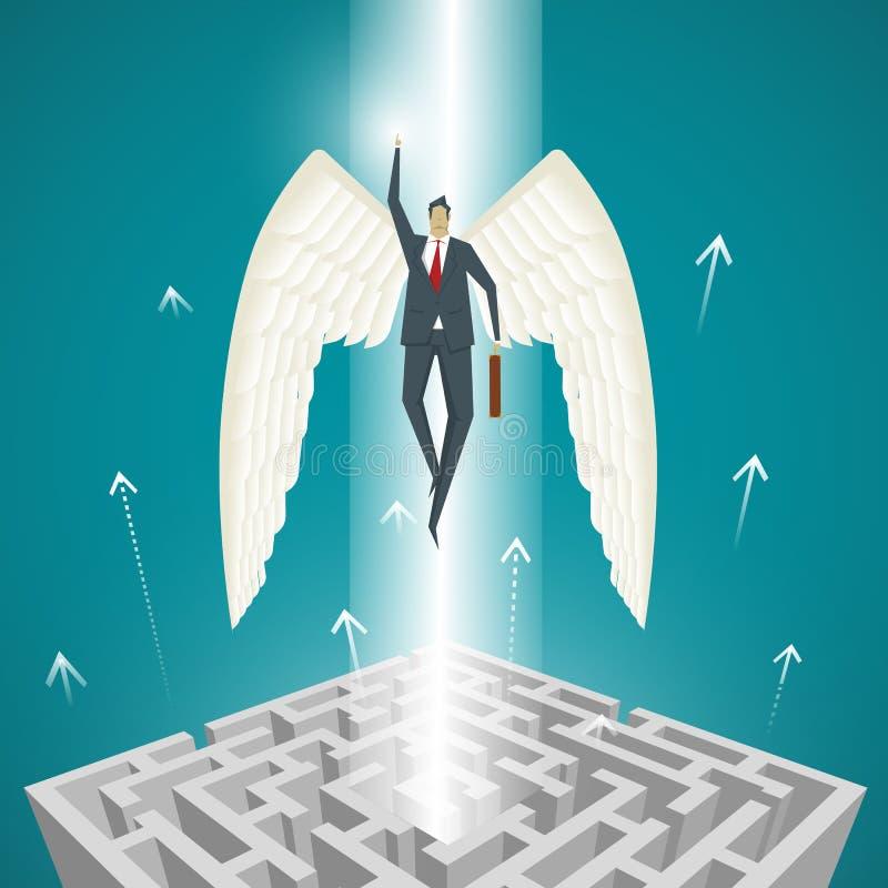 Conceito do negócio, homem de negócios com as asas que voam acima fora do miliampère ilustração stock