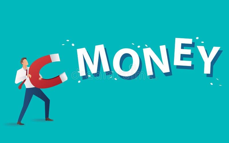 Conceito do negócio homem de negócios que atrai o texto do dinheiro com uma grande ilustração do vetor do ímã ilustração stock