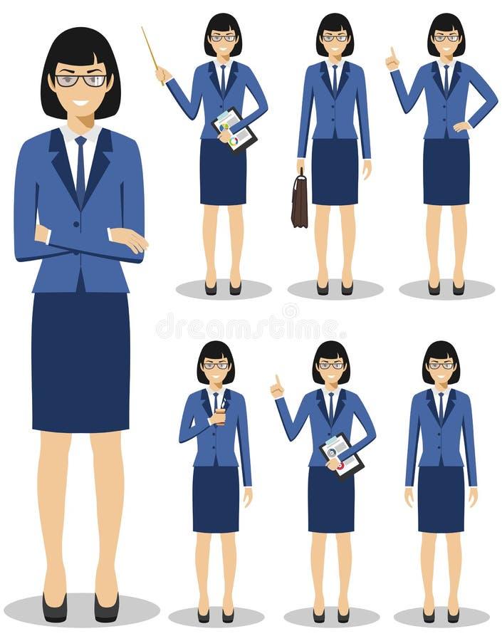 Conceito do negócio Ilustração detalhada da mulher de negócios europeia americana que está em posições diferentes no estilo liso ilustração stock