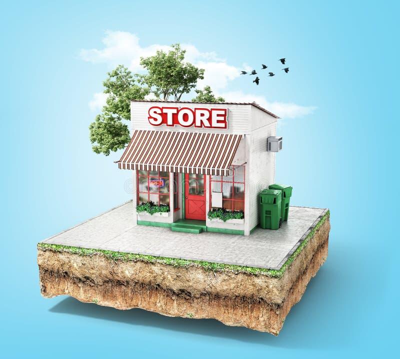Conceito do negócio Loja com caso de vidro em uma parte de terra ilustração stock
