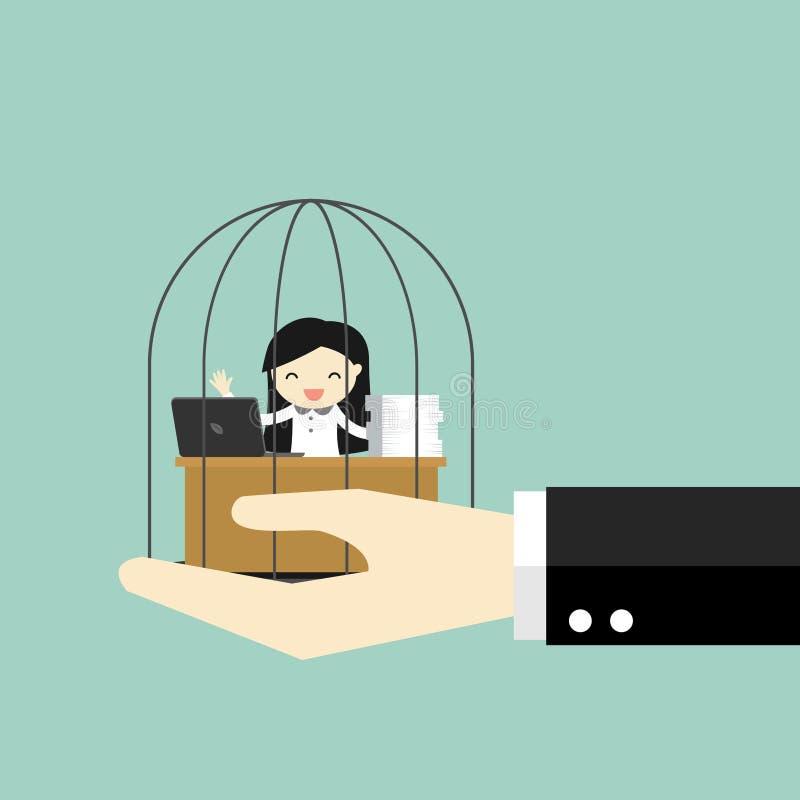 Conceito do negócio, mão que guarda a mulher de negócio que aprecia trabalhar na prisão ilustração royalty free
