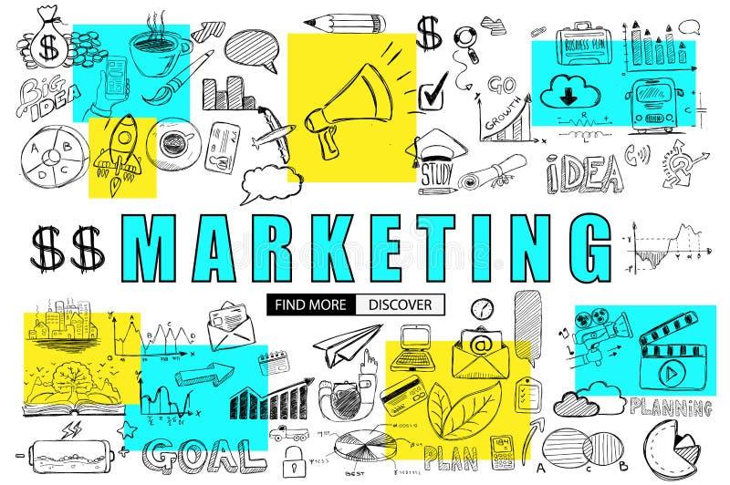 Conceito do negócio do mercado com estilo do projeto da garatuja: encontrando o solenoide ilustração stock
