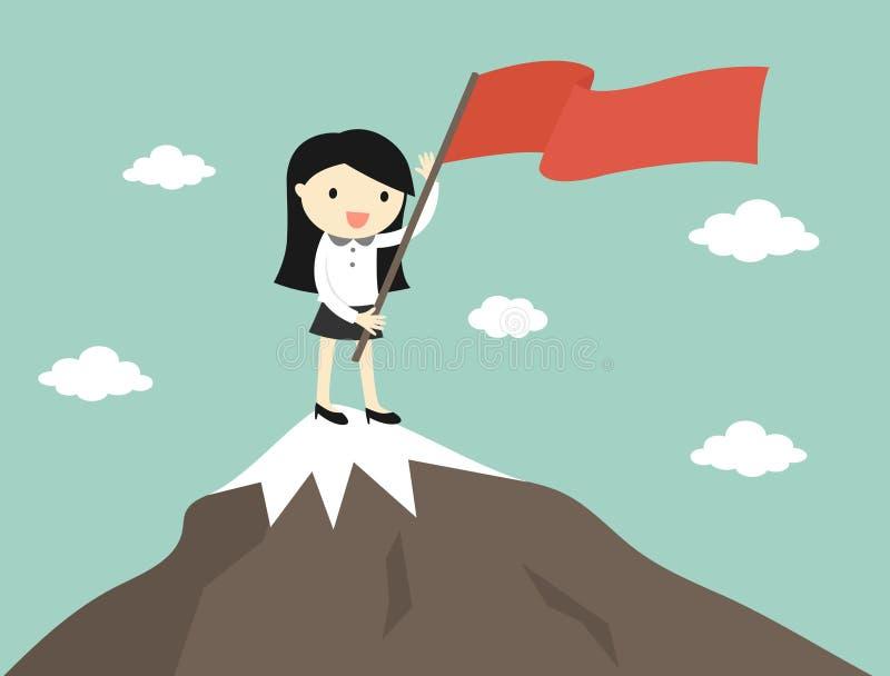 Conceito do negócio, mulher de negócio que guarda a bandeira vermelha na parte superior da montanha ilustração stock