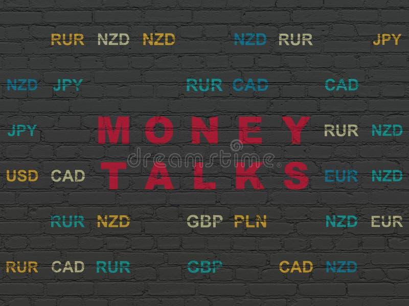 Conceito do negócio: O dinheiro fala no fundo da parede foto de stock royalty free