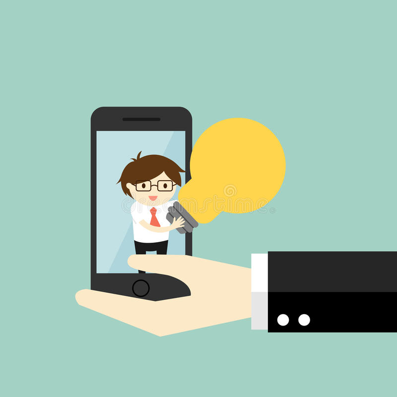 Conceito do negócio, oferta do homem de negócios/venda uma ideia através do smartphone ilustração royalty free