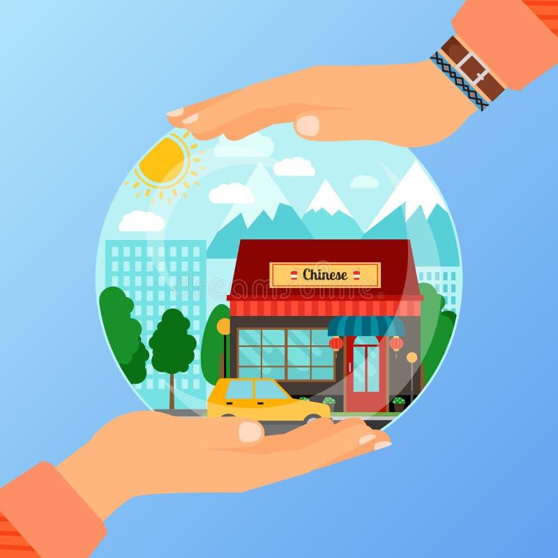 Conceito do negócio para abrir o restaurante chinês ilustração stock