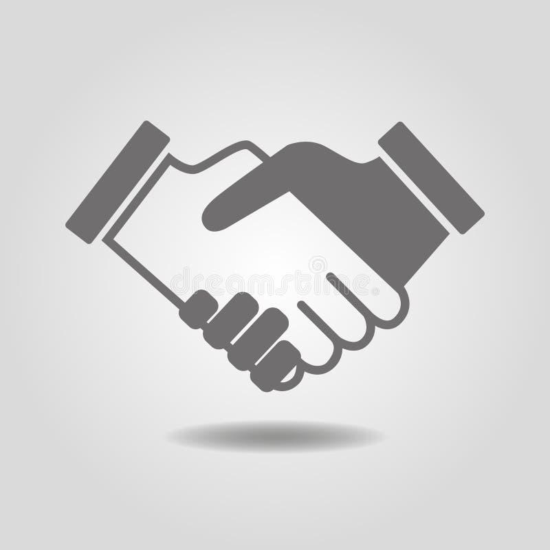 Conceito do negócio Parceria, ícone do aperto de mão Trabalhos de equipa e frie ilustração do vetor