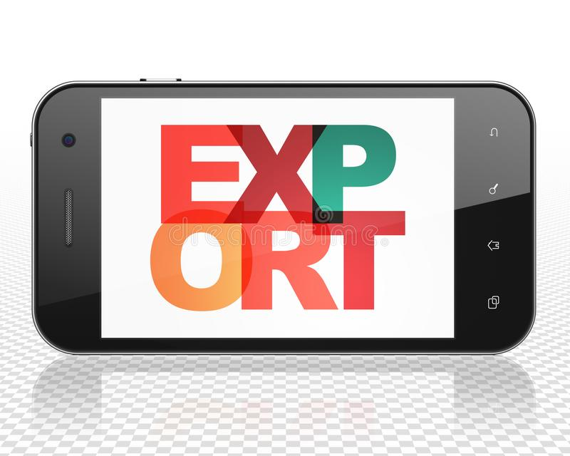Conceito do negócio: Smartphone com exportação na exposição ilustração royalty free