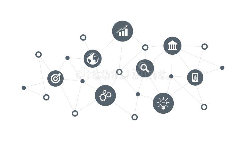 Conceito do negócio Tecnologia da Web Bandeira social dos meios Ilustração do vetor ilustração do vetor